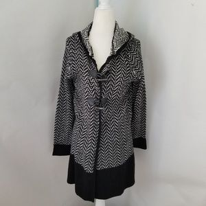 Herringbone Pattern Hooded United States Sweater